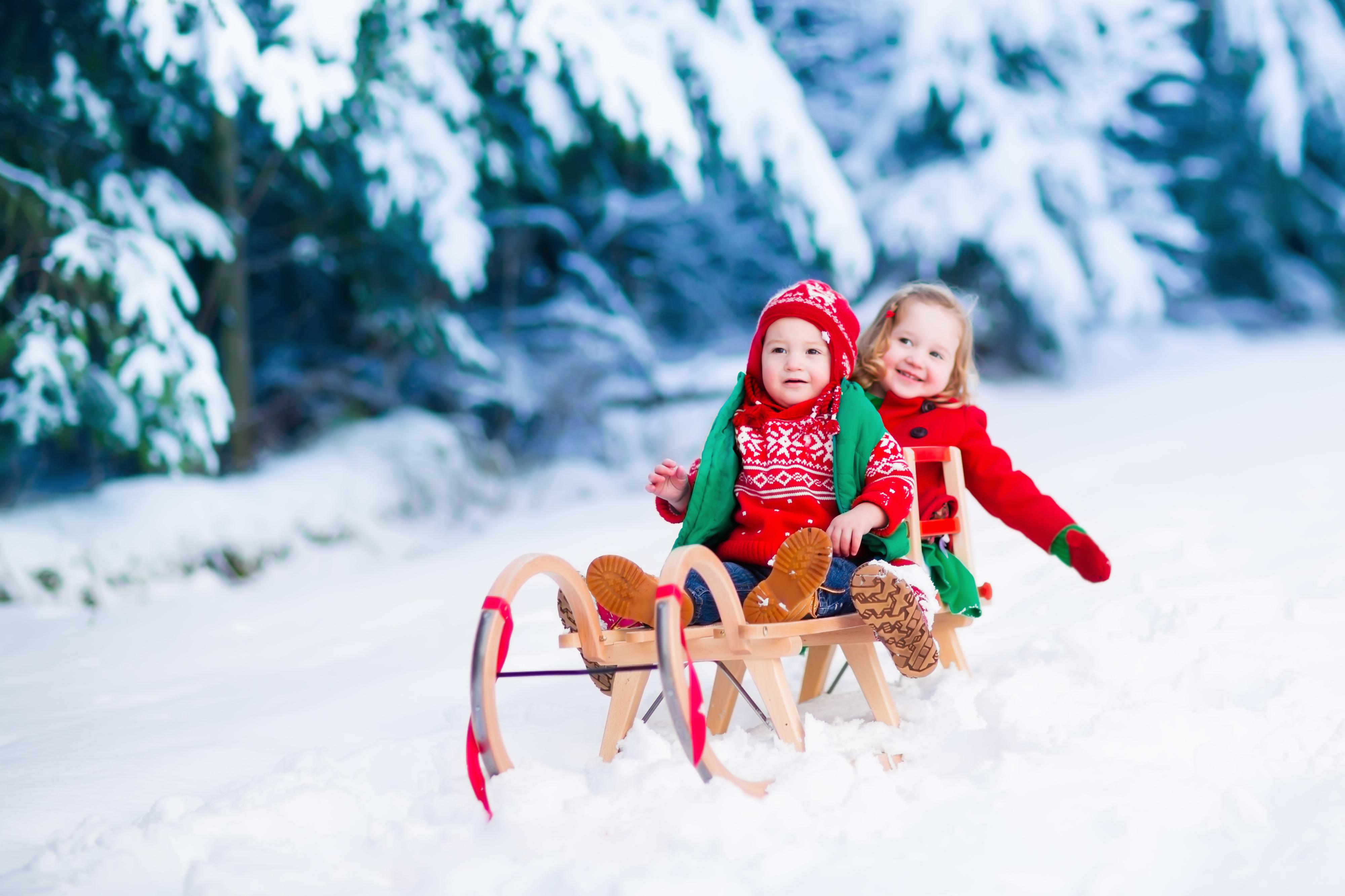 Фото с санками для детей